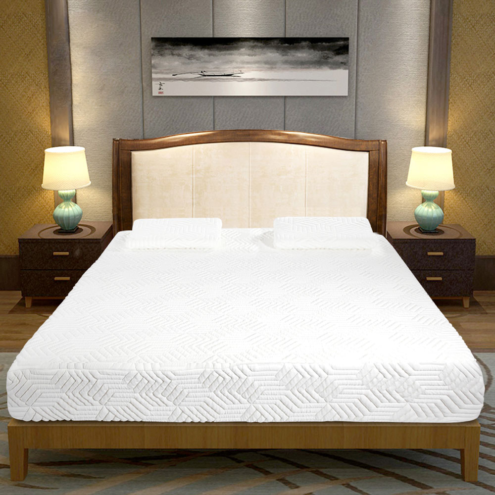 10 queen size cool medium firm memory foam mattress bed with 2 pillows white 699980552496 ebay. Black Bedroom Furniture Sets. Home Design Ideas