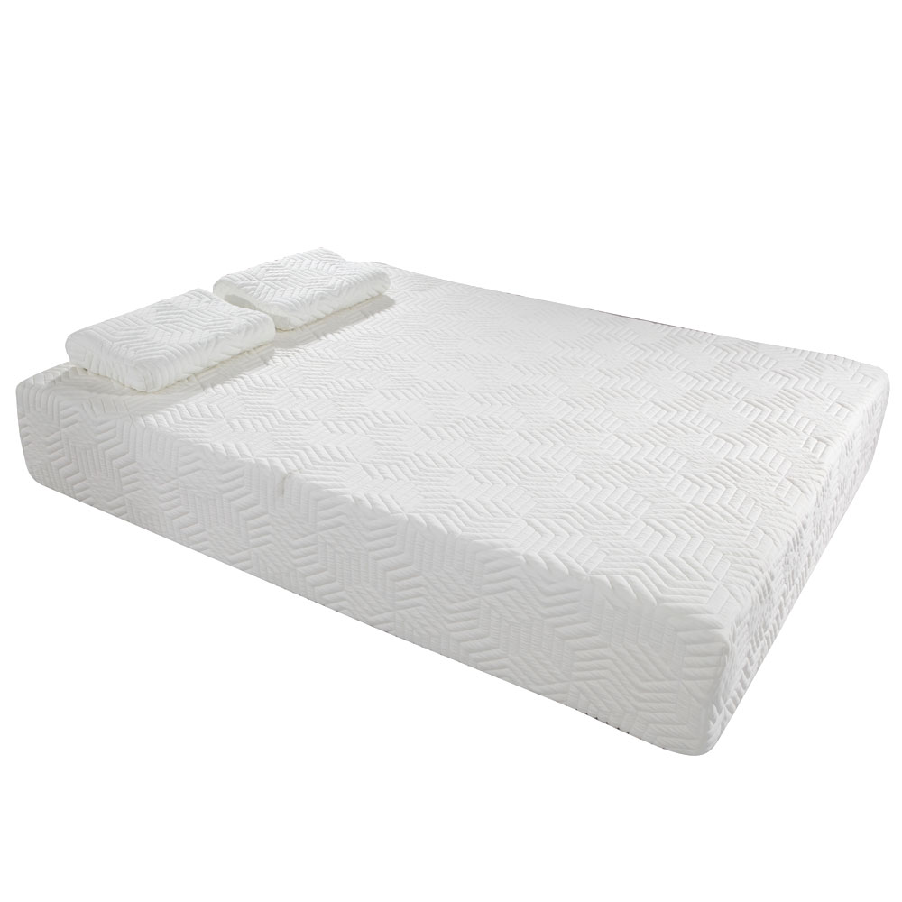 10 inch three layers full size cool firm memory foam mattress w 2 pillows white ebay. Black Bedroom Furniture Sets. Home Design Ideas
