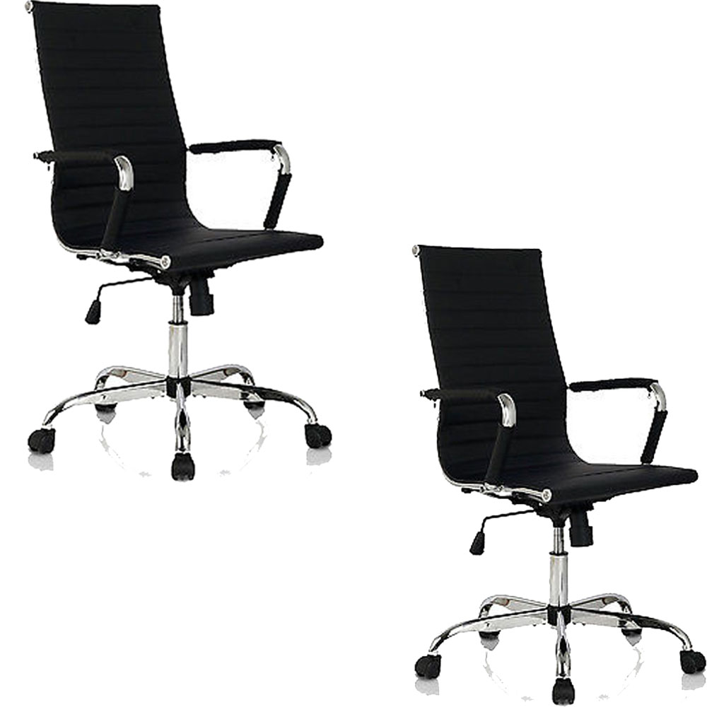 2PCS PU Leather High Back Office Chair Black Ribbed Executive Computer Desk Seat