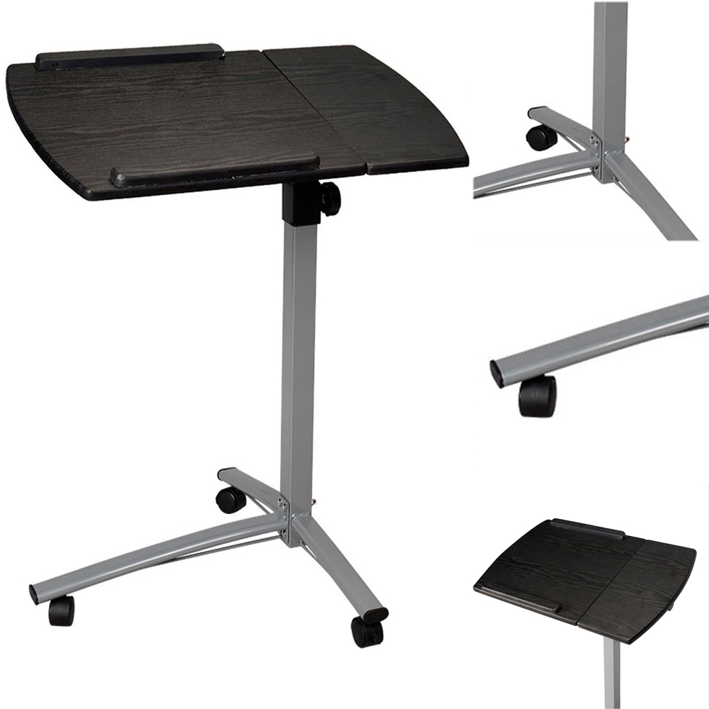 Adjustable angle height rolling notebook laptop desk for Divan overbed table