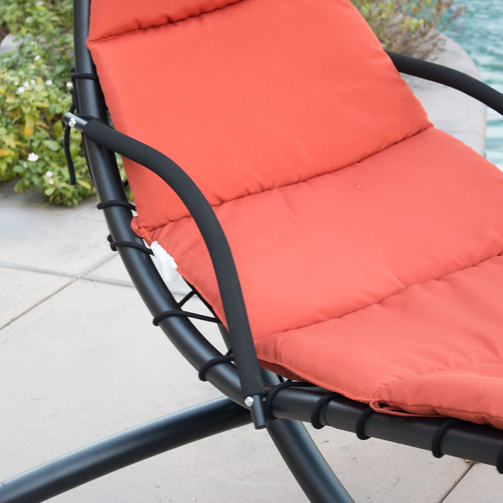 orange hanging chaise lounge chair umbrella patio furniture pool lounger hammock ebay. Black Bedroom Furniture Sets. Home Design Ideas