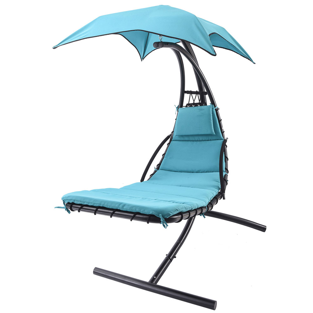 Hot hanging chaise lounge chair umbrella patio furniture for Lawn chair with umbrella