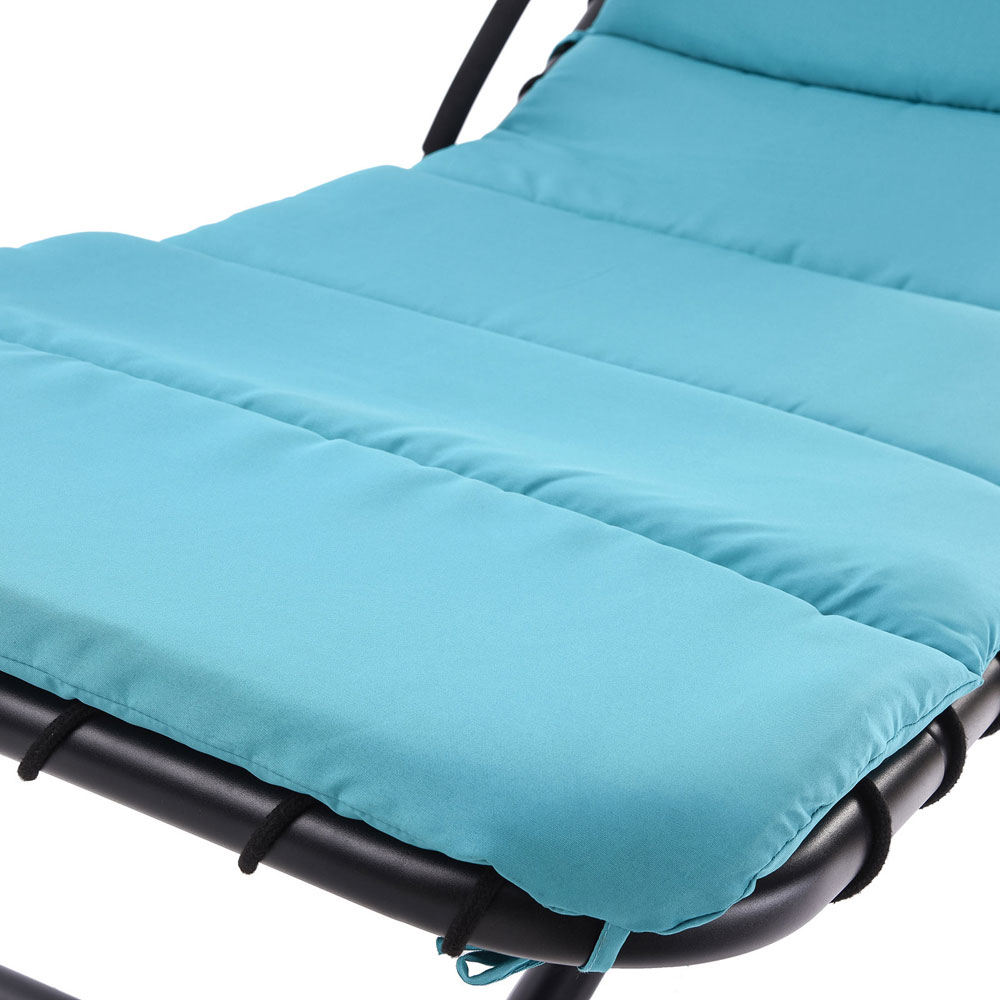 blue hanging chaise lounge chair umbrella patio furniture. Black Bedroom Furniture Sets. Home Design Ideas
