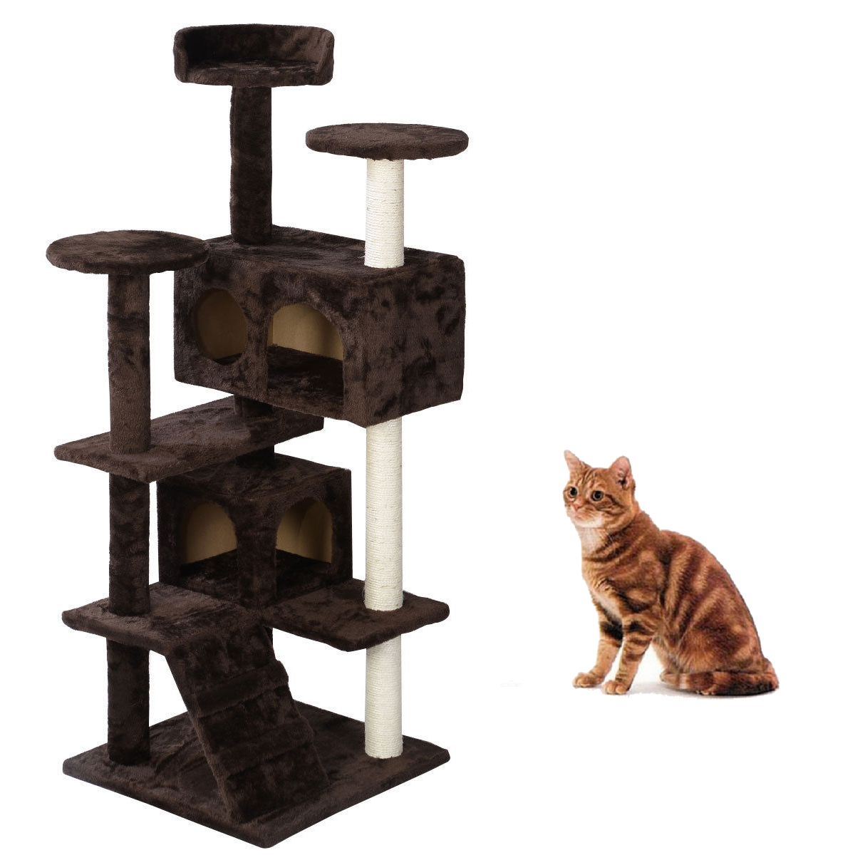 Pet cat tree tower condo scratcher kitty pet mansions for Castle cat tower