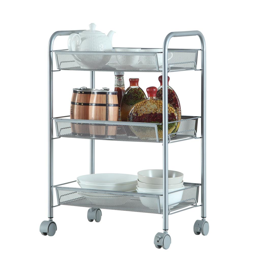 Kitchen Shelves And Racks Online: 3/4/5-Tier Organizer Metal Rolling Storage Shelving Rack
