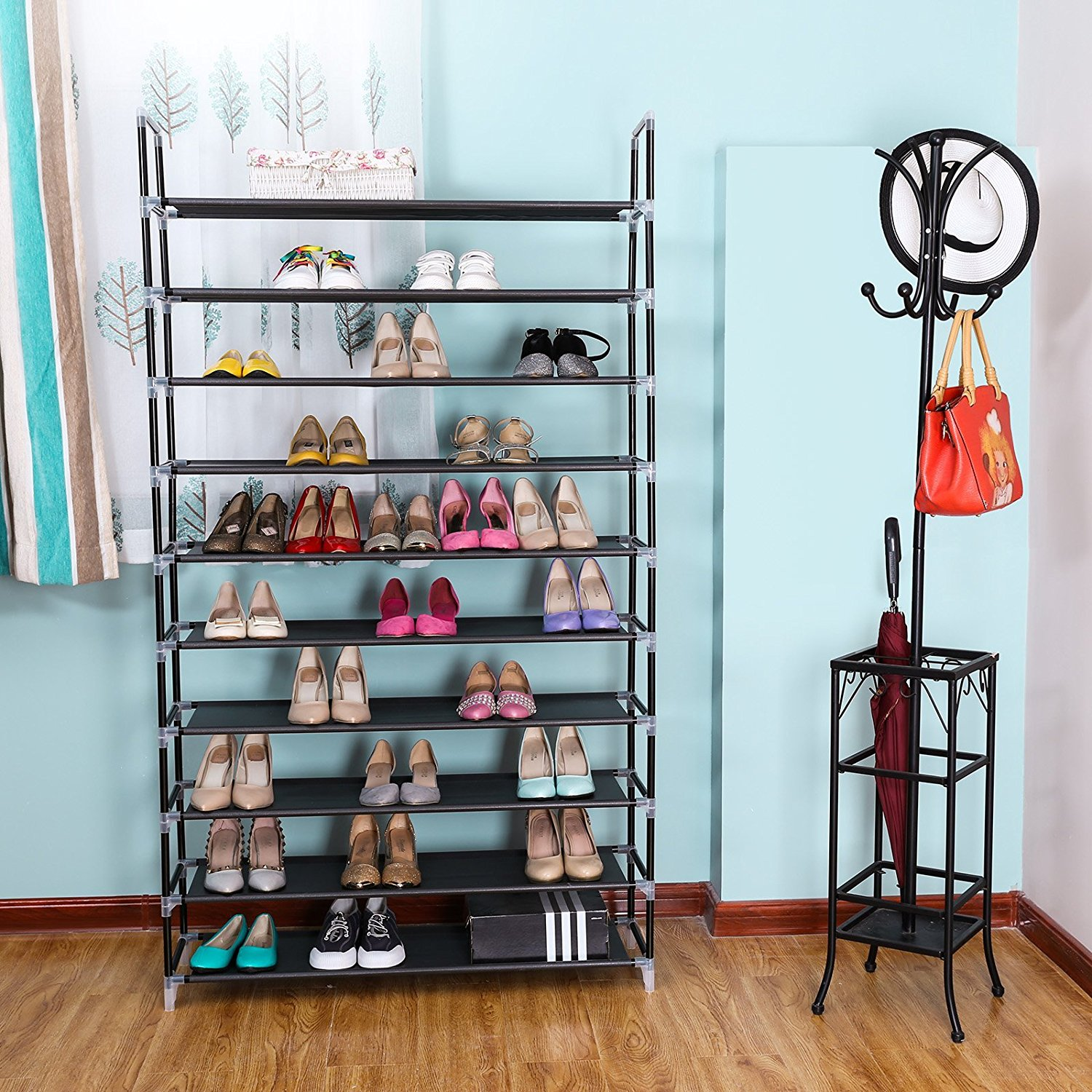 5/10 Tier Shoe Rack Wall Tower Cabinet Storage Organizer
