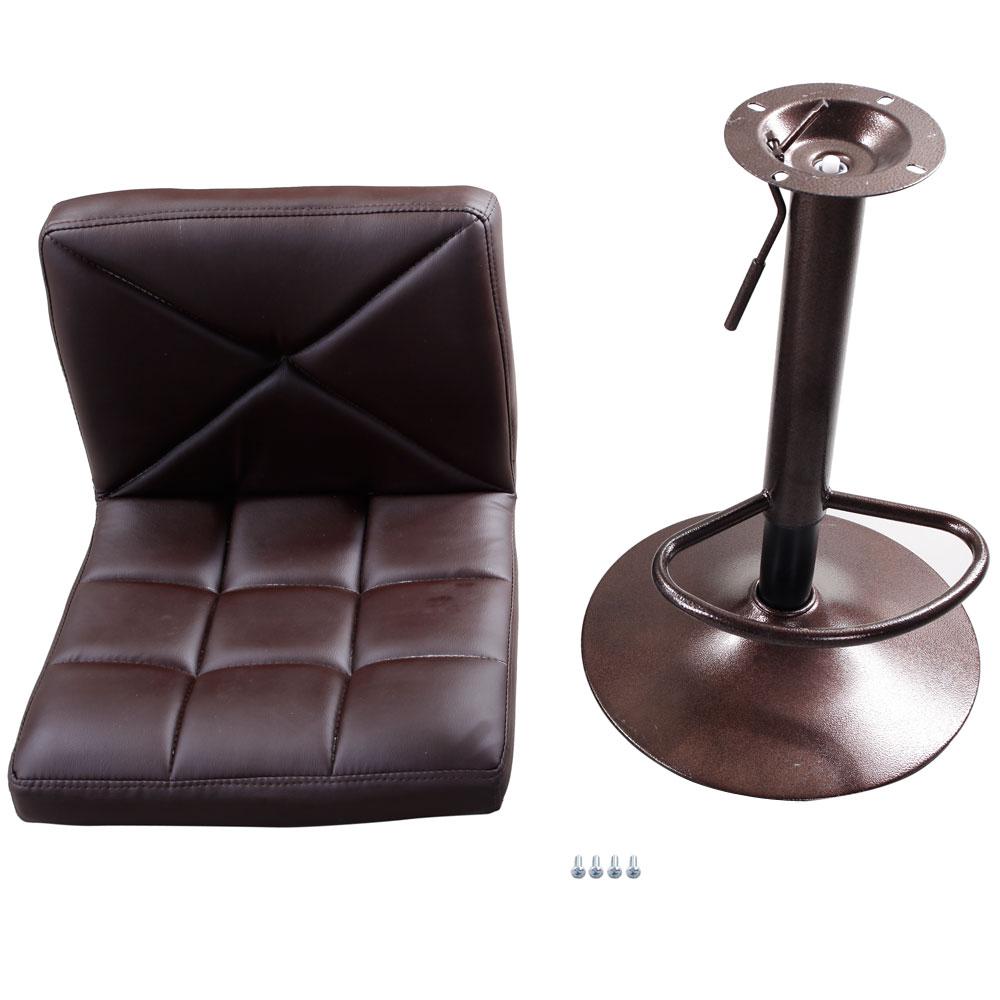 Set Of 2 Brown Pu Leather Modern Adjustable Swivel