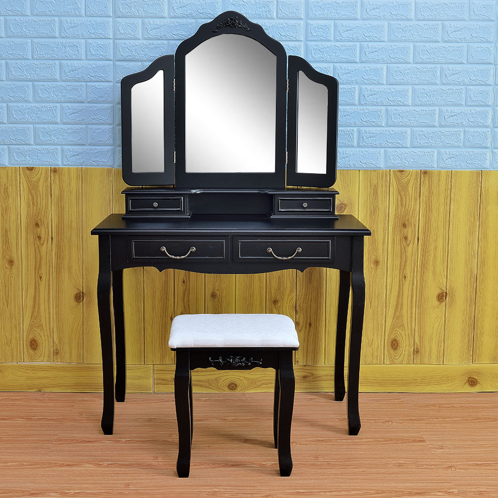 Black Tri Folding Mirror Vanity Set 4 Drawers Dressing