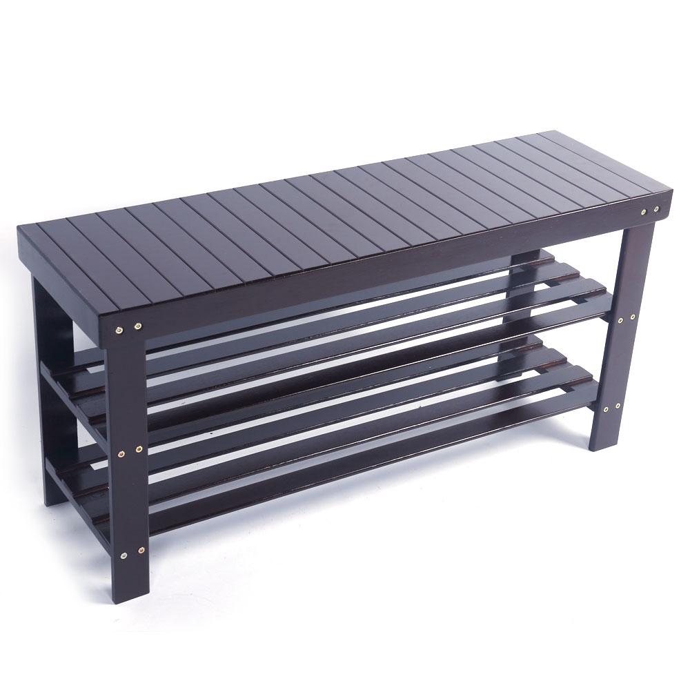 36 Solid Wood Shoe Bench Storage Racks Seat Organizer
