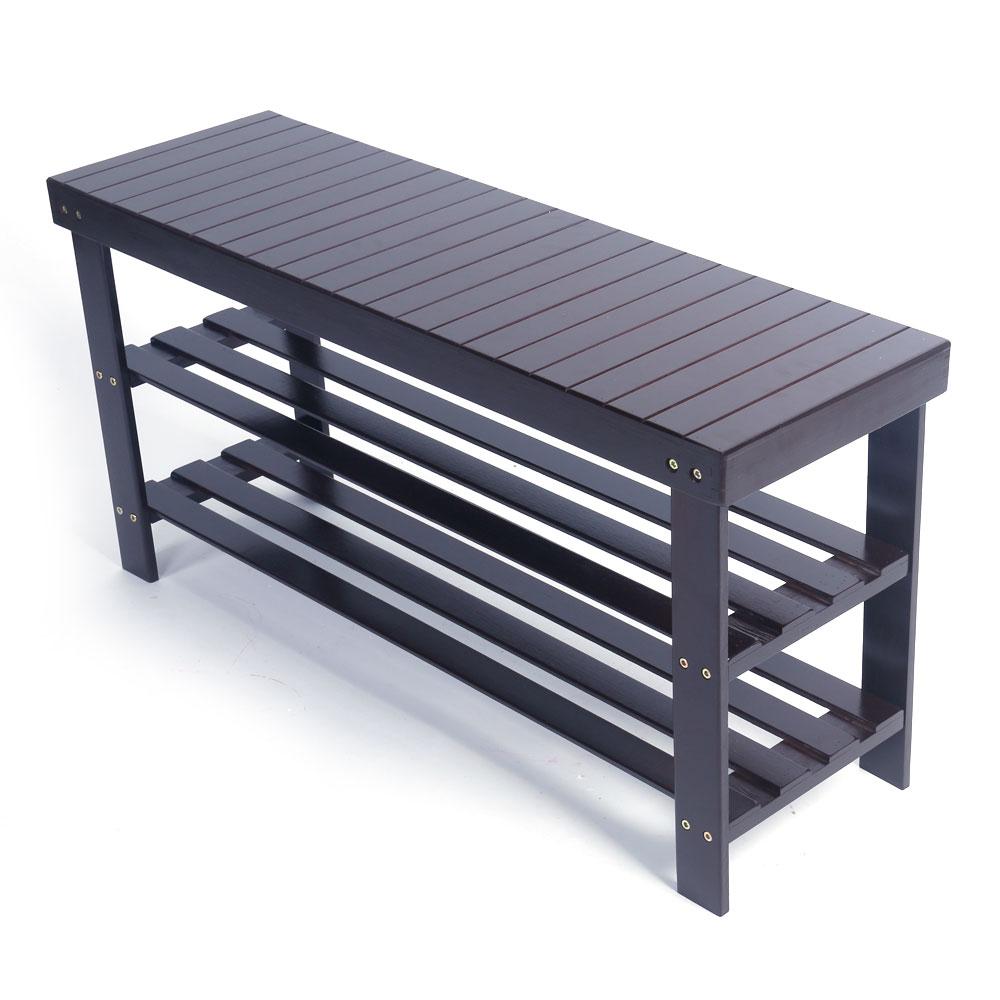 36 solid wood shoe bench storage racks seat organizer entryway hallway espresso ebay. Black Bedroom Furniture Sets. Home Design Ideas