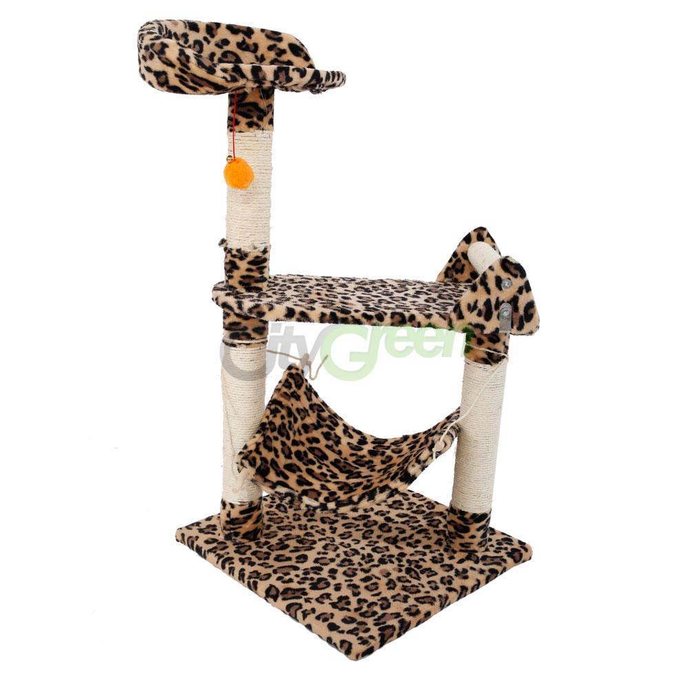 Leopard Print Cat Tree Condo Furniture Scratching Post Pet