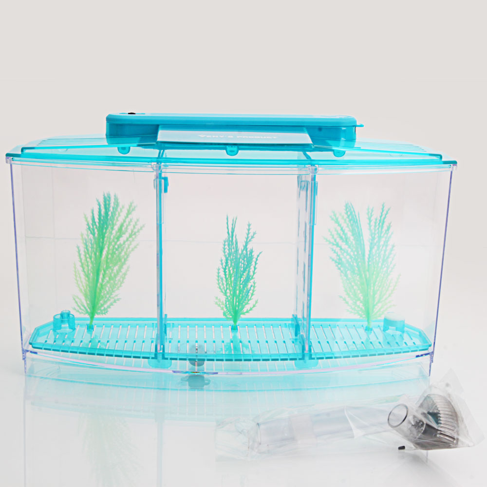 3 compartment acrylic fish shrimp tank small aquarium with for Plastic fish tank