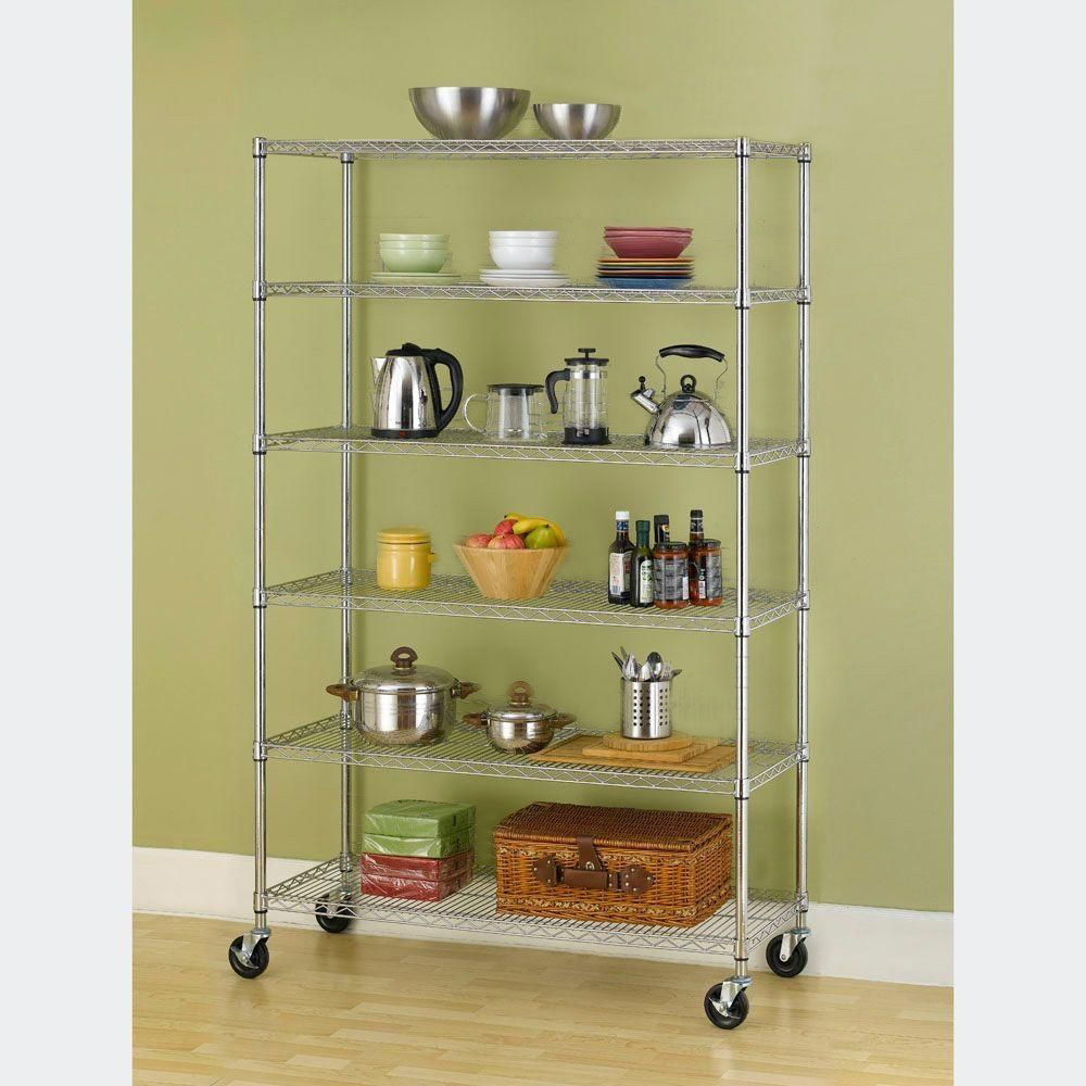 metal storage rack black chrome 4 6 tier layer shelf shelving adjustable wire 23294