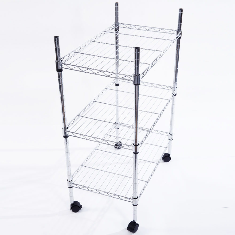 rolling shelf rack 34x24x14 quot 3 tier shelf adjustable wire metal shelving rack 25636