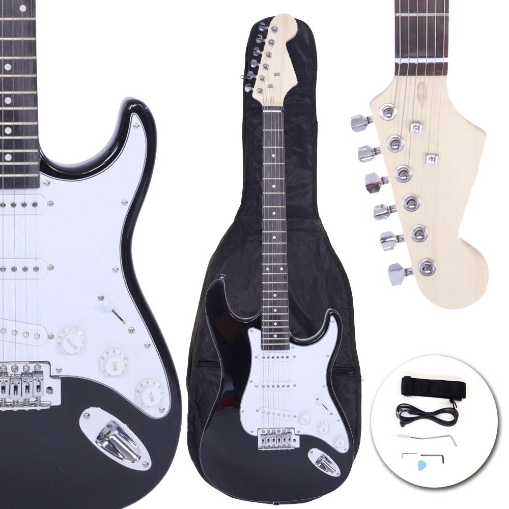 new black school music electric guitar set w gig bag strap cord for beginner ebay. Black Bedroom Furniture Sets. Home Design Ideas