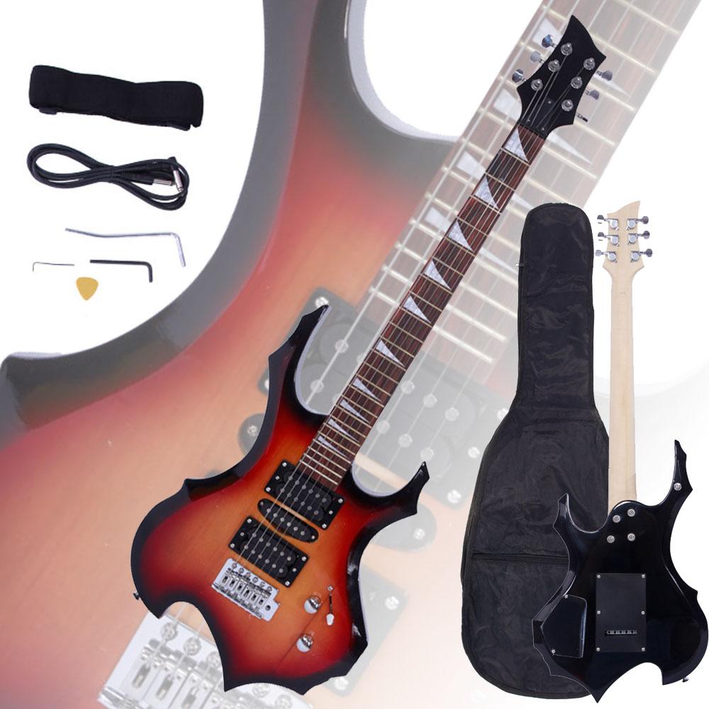 new flame type electric guitar sunset gigbag strap cord pick tremolo bar ebay. Black Bedroom Furniture Sets. Home Design Ideas