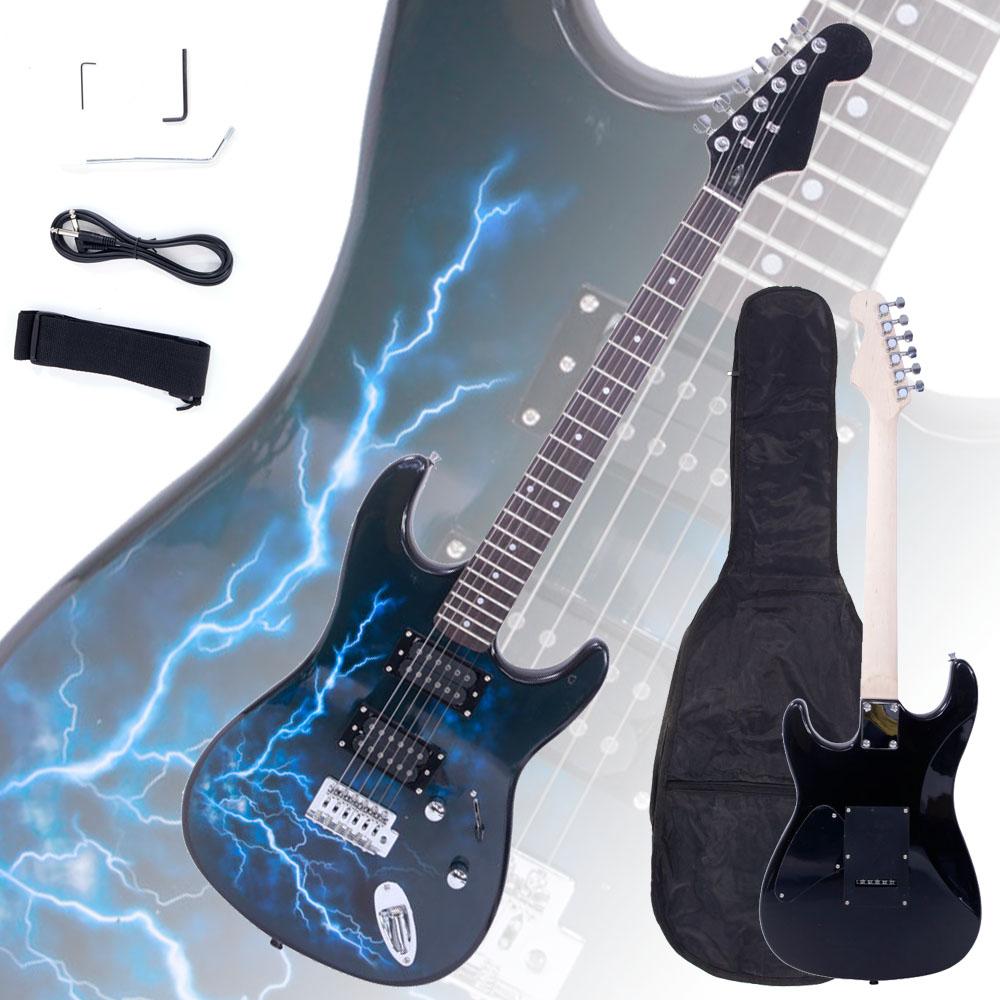 New ST E Lightning Style Black Electric Guitar Strap Cord Gigbag Picks