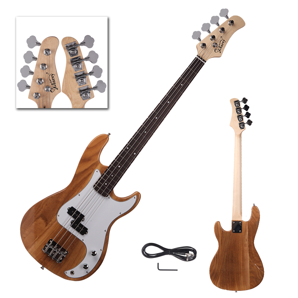 new glarry burning fire burlywood full size 4 string electric bass guitar ebay. Black Bedroom Furniture Sets. Home Design Ideas