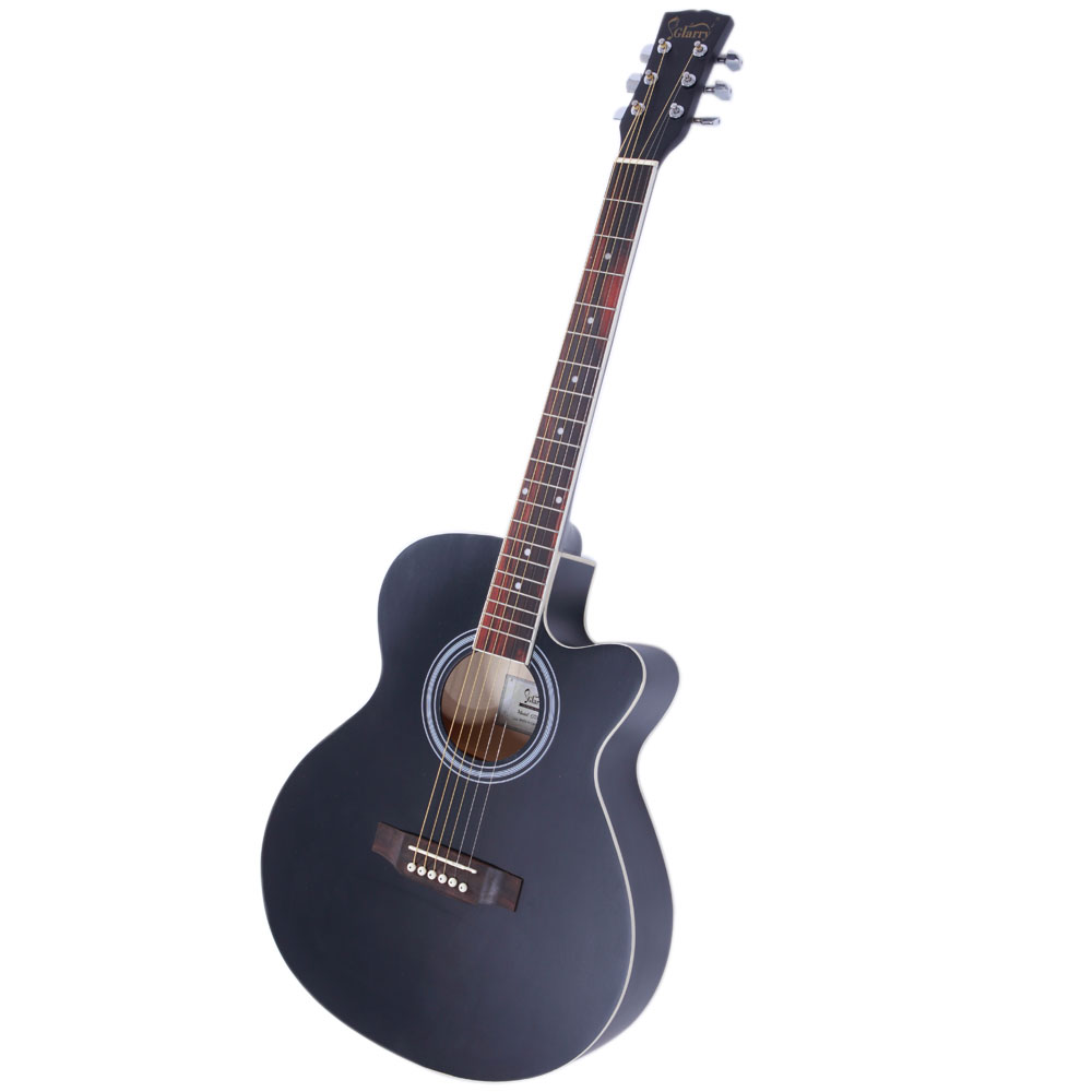 new 40 adult 6 strings cutaway folk acoustic guitar black with bag. Black Bedroom Furniture Sets. Home Design Ideas