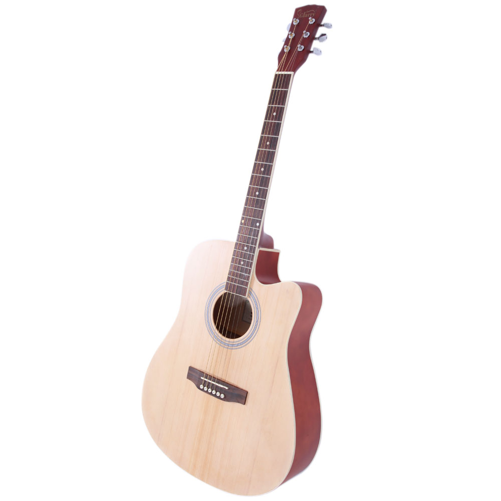 new 41 full size adult 6 strings cutaway folk acoustic guitar wood color ebay. Black Bedroom Furniture Sets. Home Design Ideas