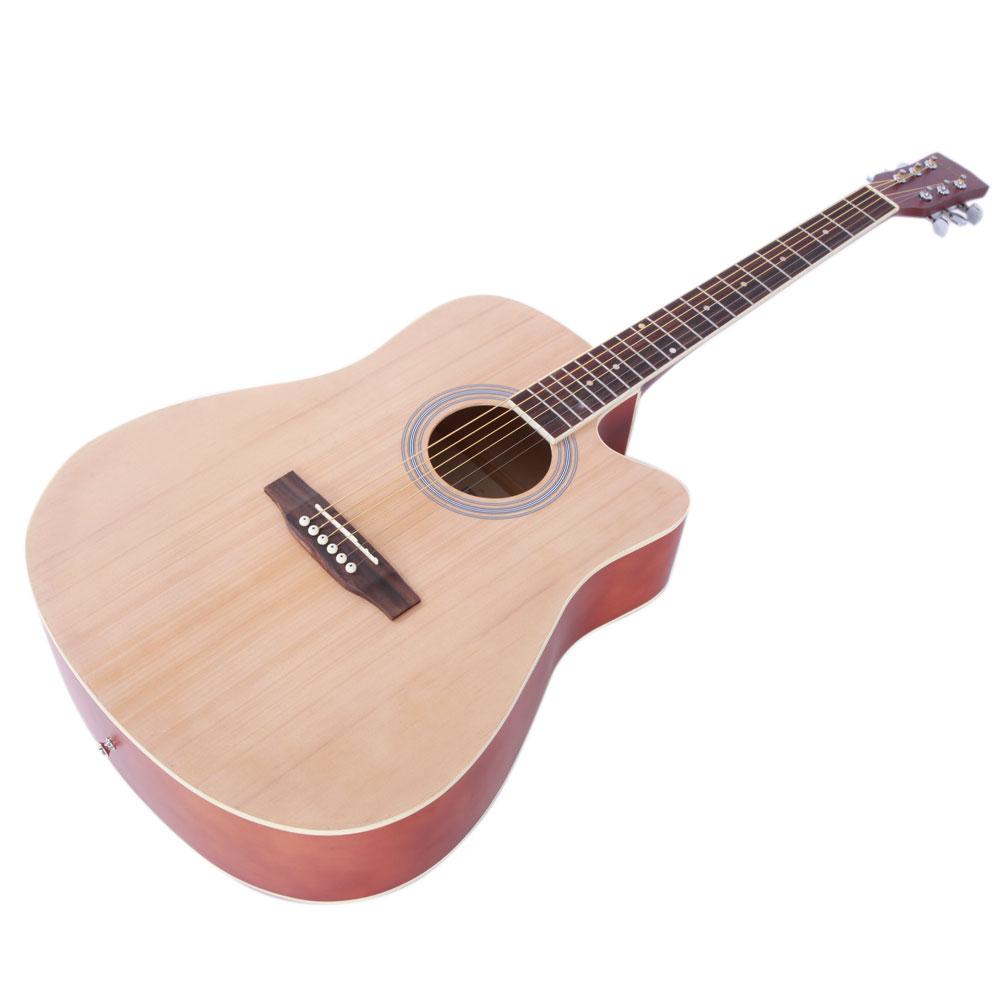 New 41 Full Size Adult 6 Strings Cutaway Folk Acoustic Guitar Wood