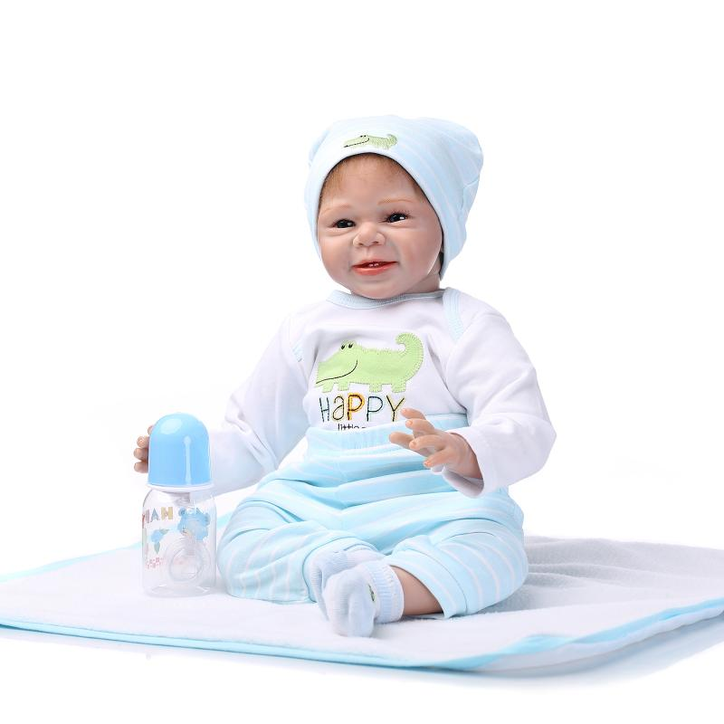 Details about Reborn Baby Doll Soft Silicone vinyl 22inch Lovely Lifelike  Cute Toy Sky Blue US 47bb26e4ea7d