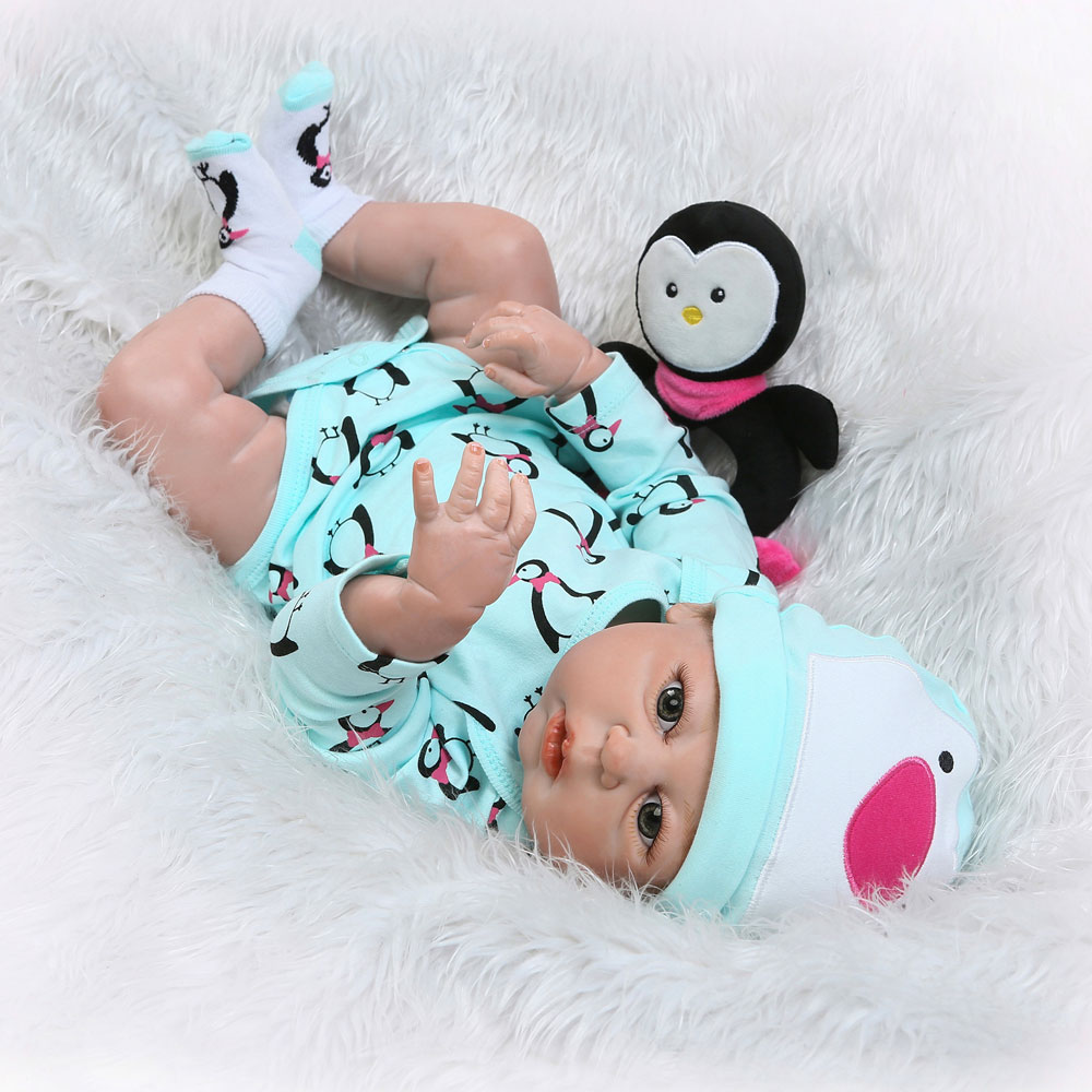 "22""Full Body Silicone Vinyl Reborn Baby Girl Doll Newborn ..."