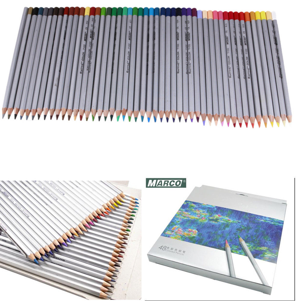 new marco 48 color art drawing oil base non toxic pencils set for artist sketch