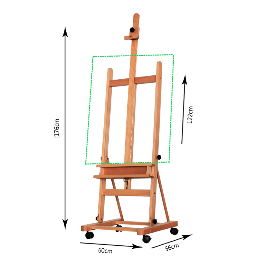 Details about Art Supply Large H-Frame Deluxe Adjustable Wood Studio Easel  W/Caster Wheels US