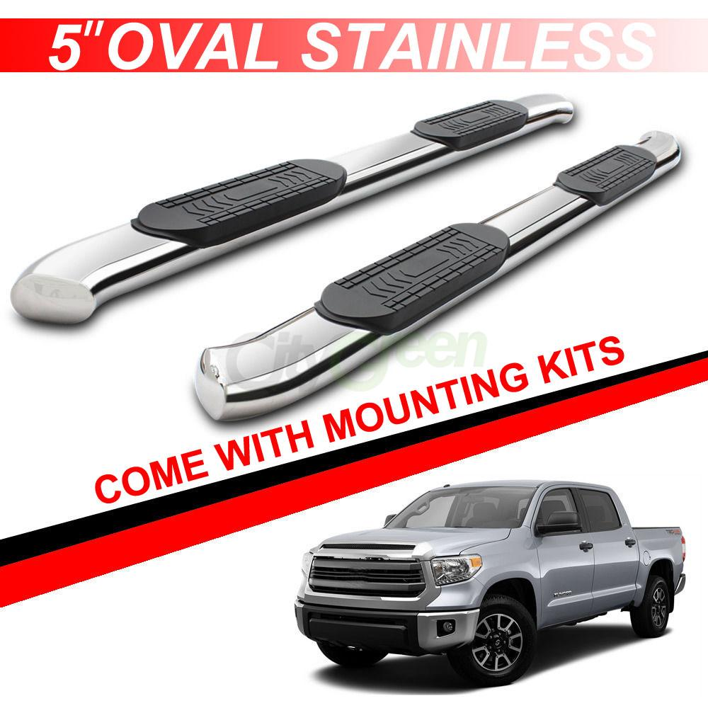 For 07 17 Toyota Tundra Crew Max 5 Quot Oval Running Boards Side Step Nerf Bar Chrome Ebay