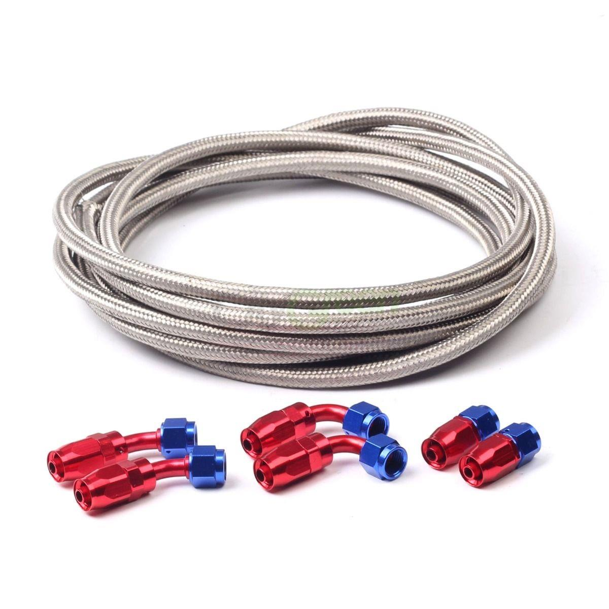 Ft nylon and stainless steel braided fuel oil line hose