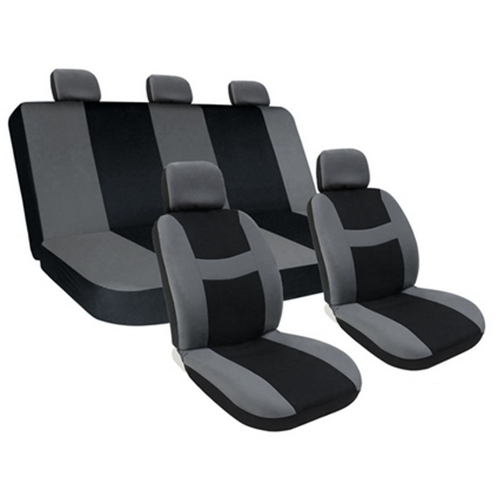 10 piece set car seat covers auto w steering wheel belt pad 5head rest ebay. Black Bedroom Furniture Sets. Home Design Ideas