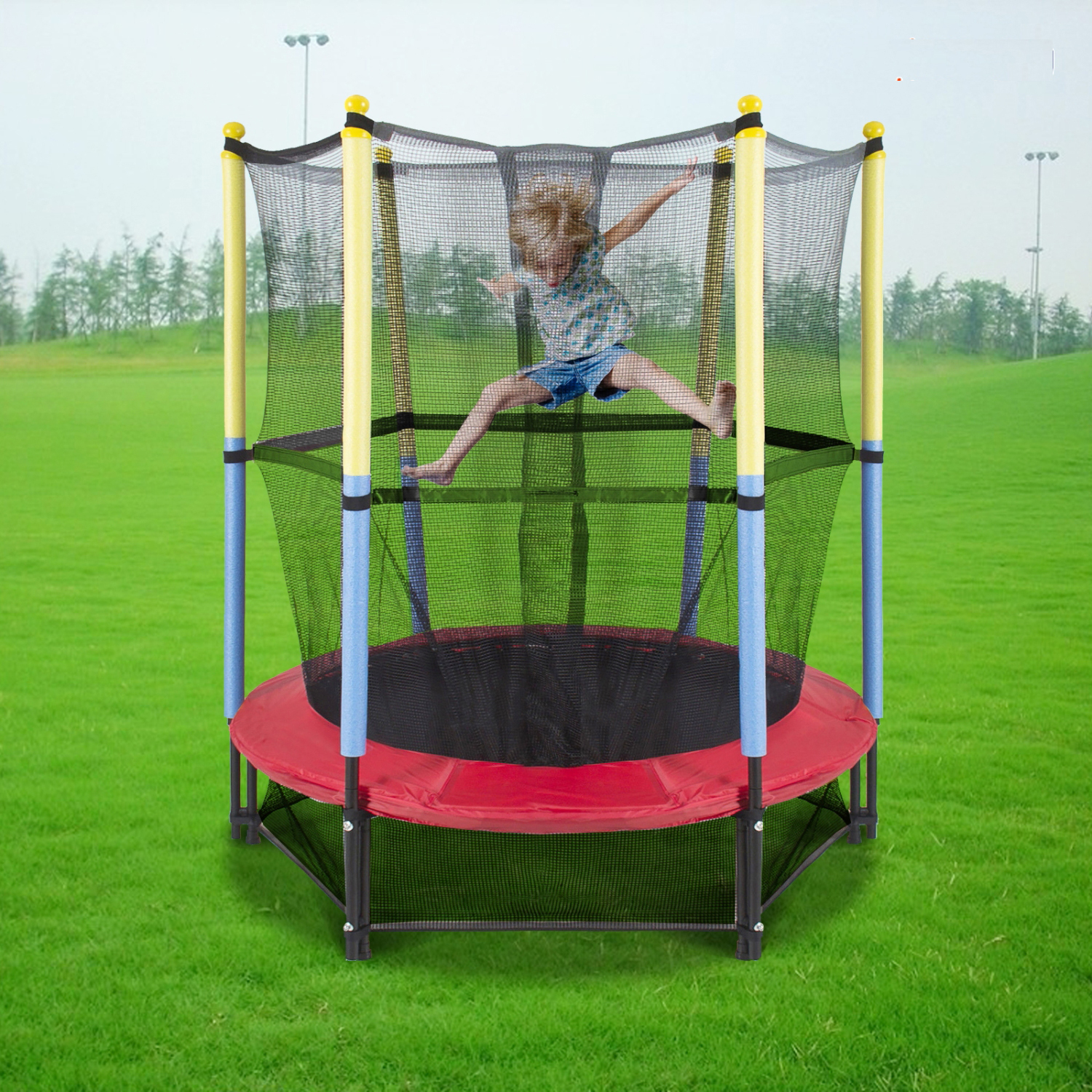 "Softbounce And Hardbounce Mini Trampolines: 55"" Round Youth Kids Trampoline Combo W/Enclosure Net Pad"