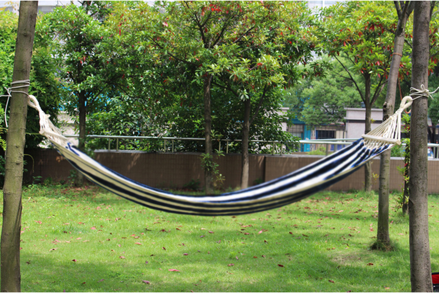 Portable cotton rope outdoor swing fabric camping hanging for Rope hammock plans