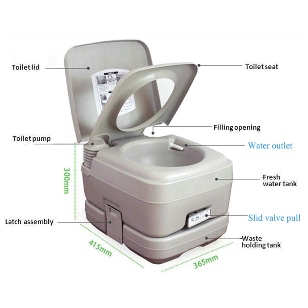 10l portable outdoor camping toilet flush porta travel vehicle boat potty gray ebay. Black Bedroom Furniture Sets. Home Design Ideas