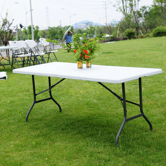 6 ft portable folding table outdoor picnic plastic camping dining party indoor ebay. Black Bedroom Furniture Sets. Home Design Ideas