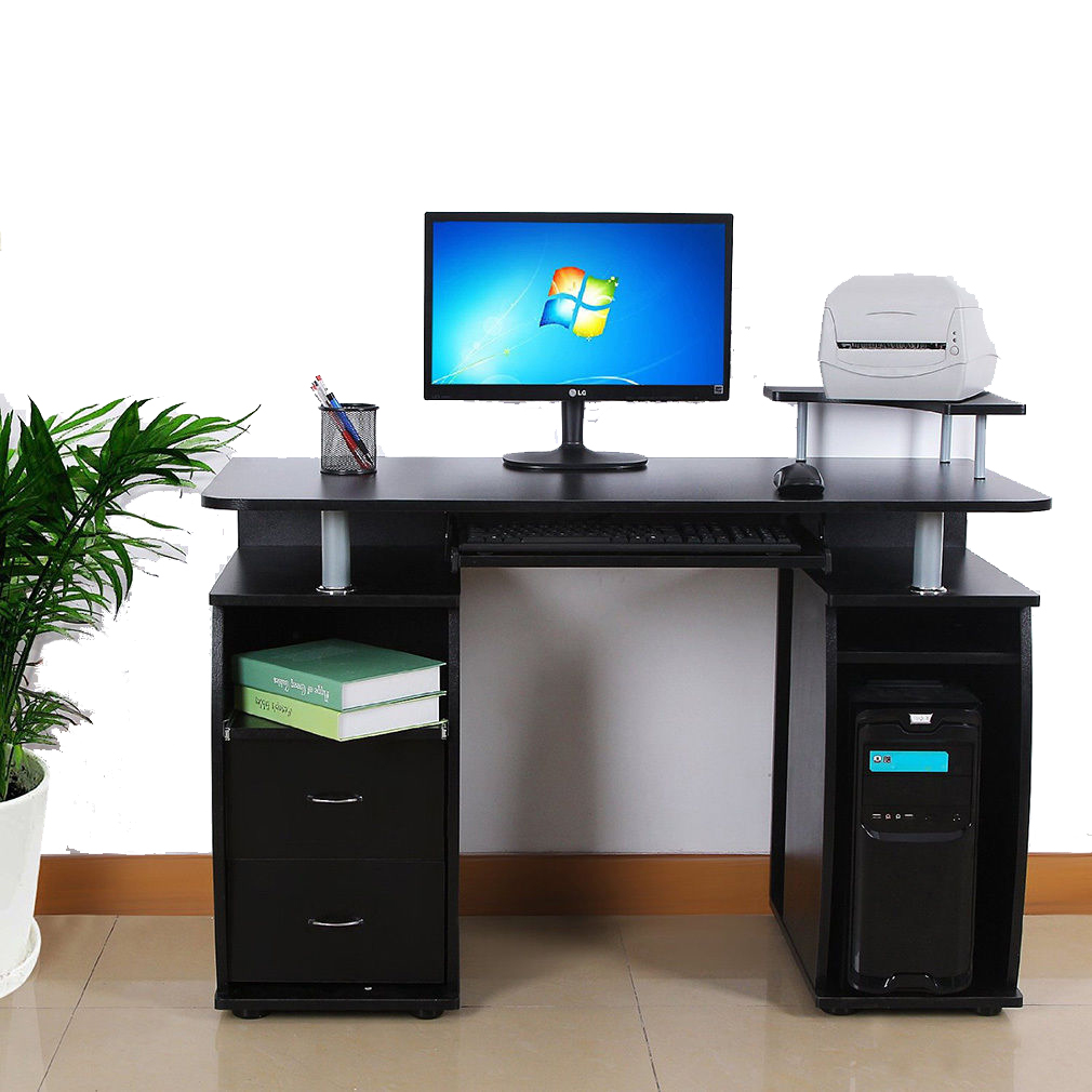 Pc Computer Desk Table Workstation Monitor Printer Shelf