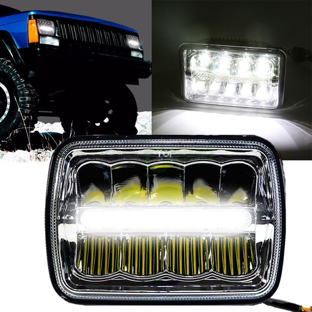 "2x led 4"" x 6"" led headlight replacement lamp for jeep cherokee xj"