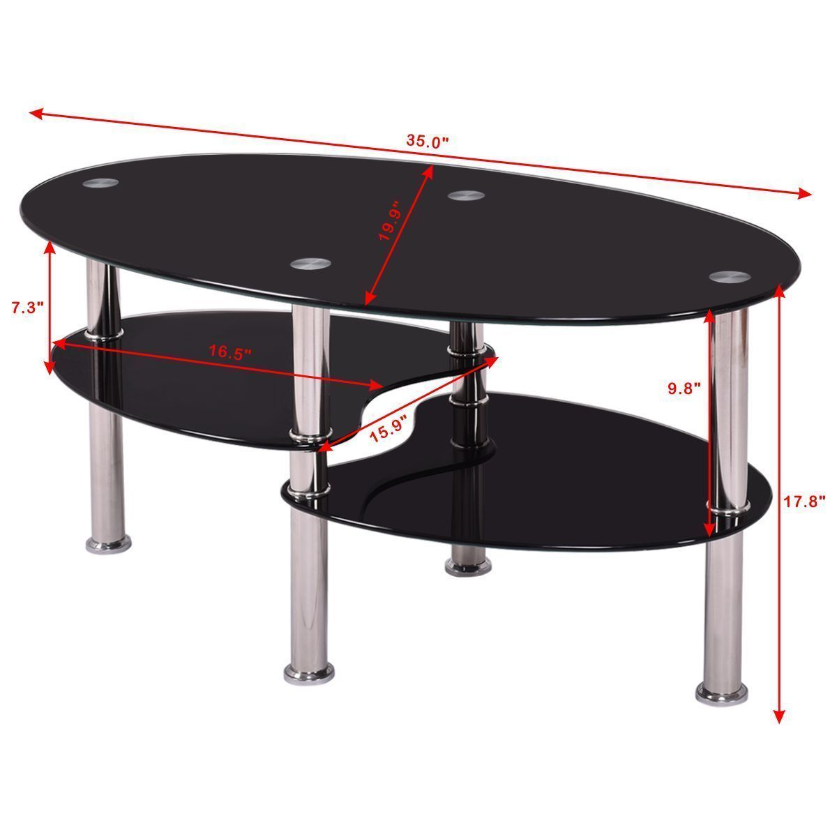 Glass Coffee Table For Sale On Ebay: New Black Glass Oval Side Coffee Table Shelf Chrome Base