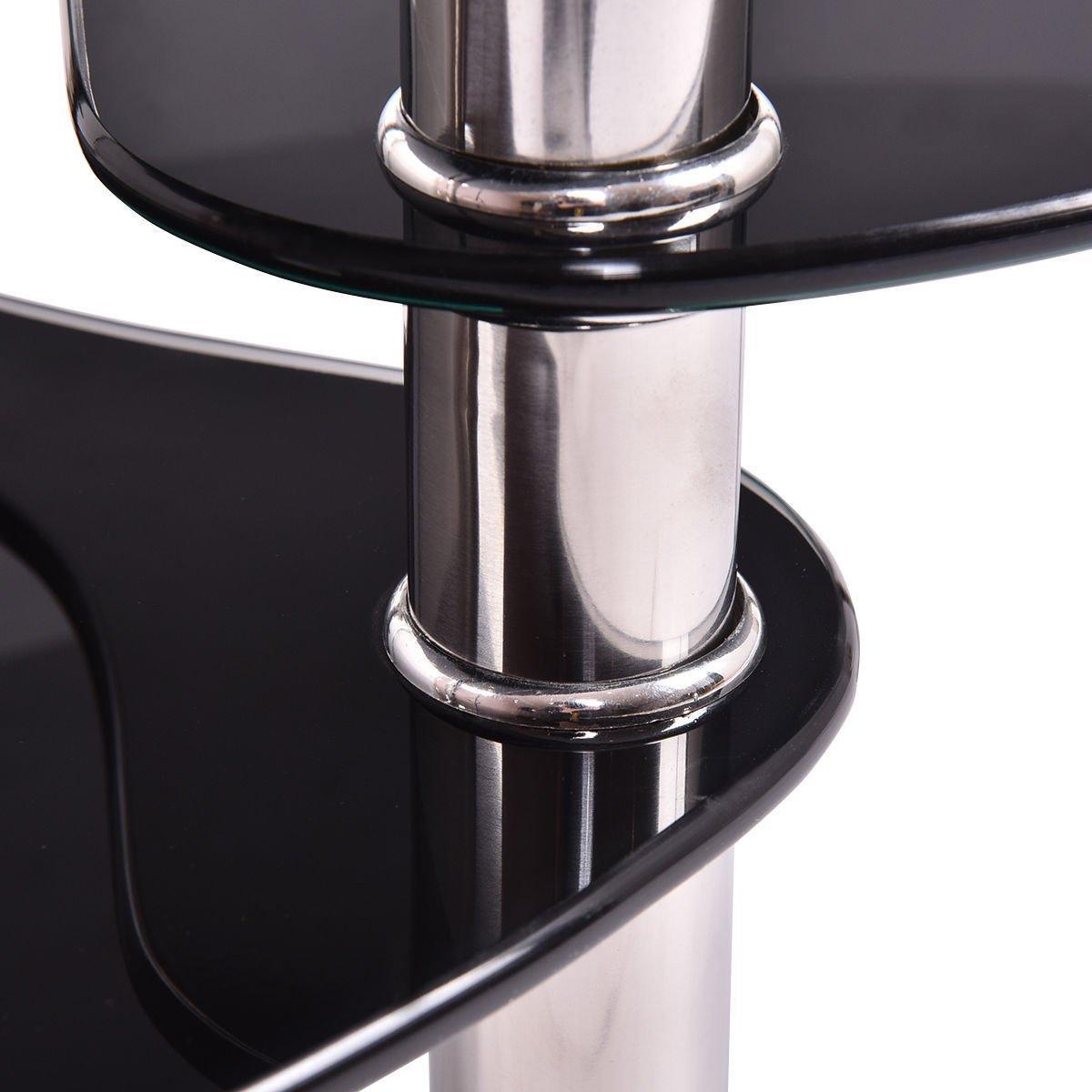 Black Glass Oval Coffee Table Side Shelf Chrome Base