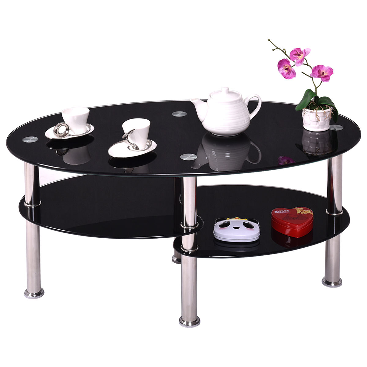 Black Glass Oval Coffee Table Side Shelf Chrome Base