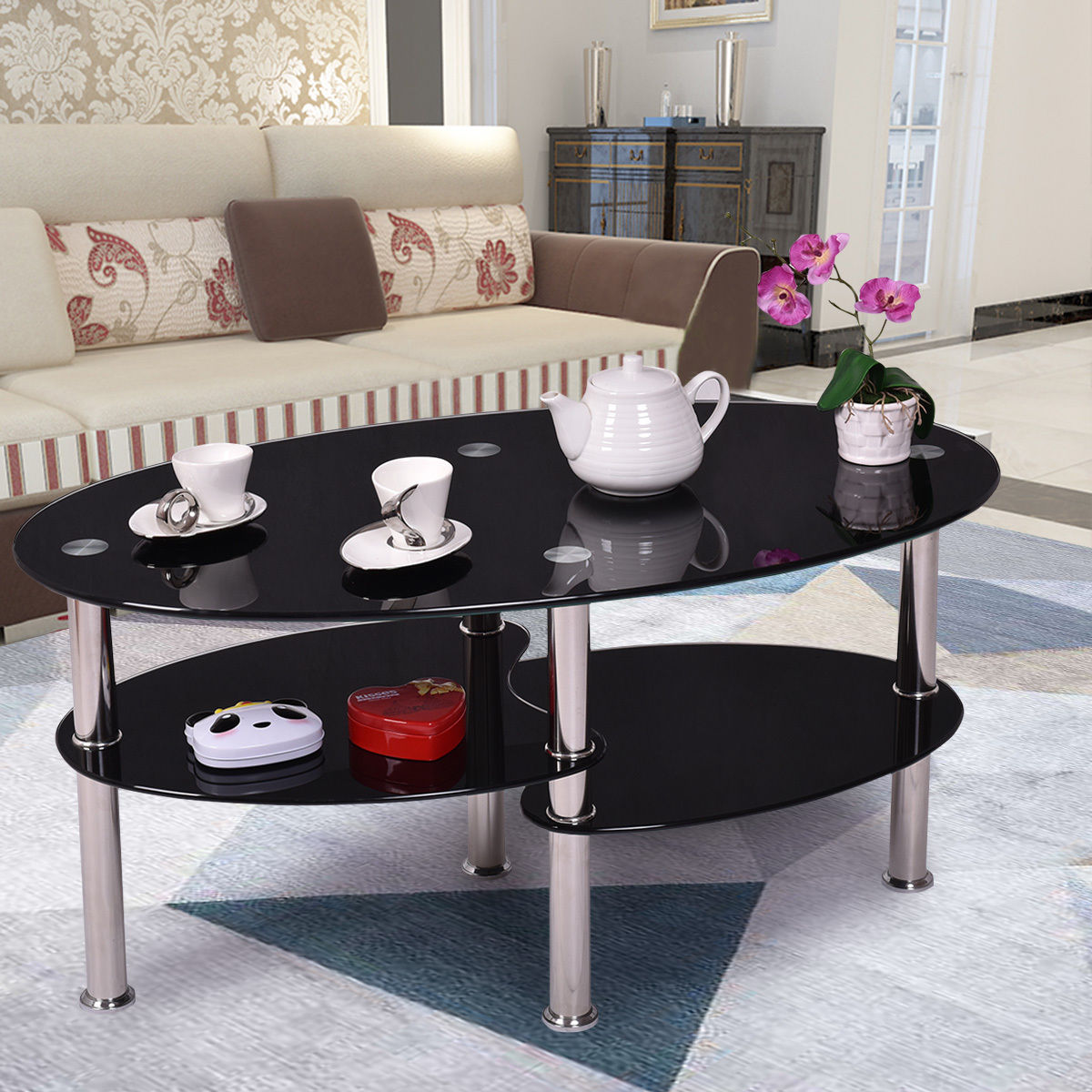 New Black Glass Oval Side Coffee Table Shelf Chrome Base