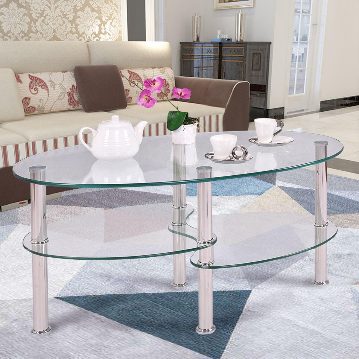 Clear Glass Oval Side Coffee Table Shelf Chrome Base Living Room ...