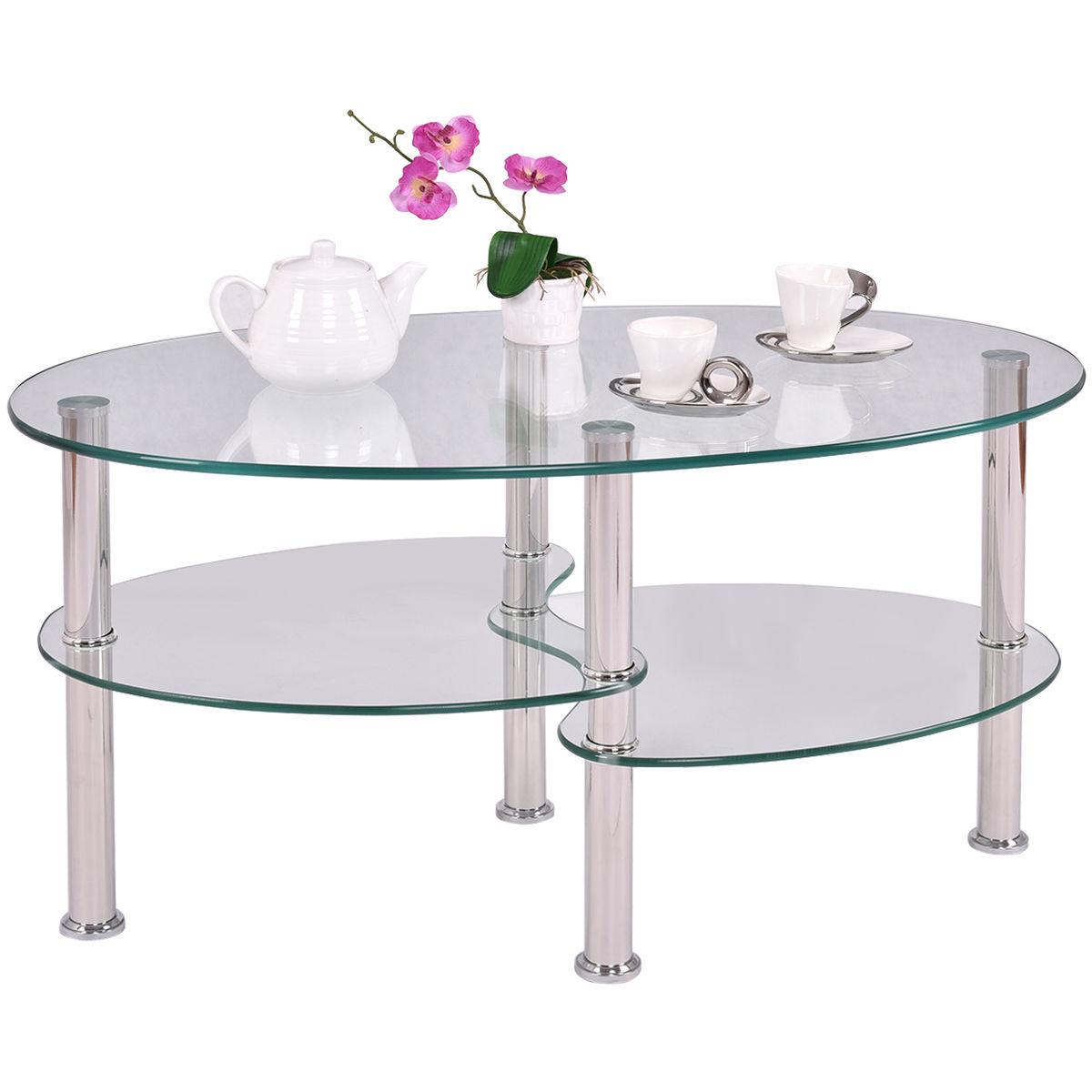 Tempered Glass Coffee Table With Drawers: Black Glass Oval Coffee Table Side Shelf Chrome Base