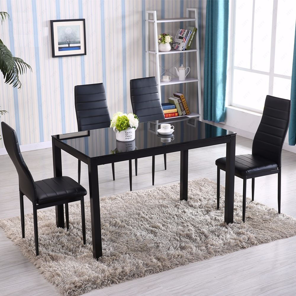 Details About (Set Of 5)1x Glass Metal Dining Table Furniture 4x Chairs  Breakfast Kitchen Room