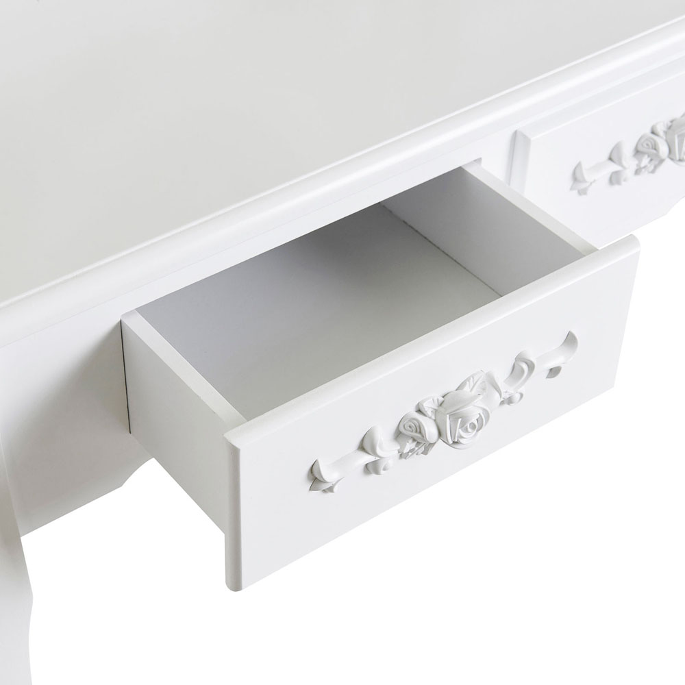 White vanity makeup dressing table set w stool 4 drawer for White dressing table with drawers