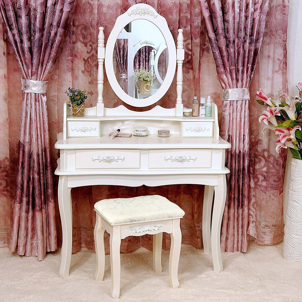White Vanity Makeup Dressing Table Set W/Stool 4 Drawer