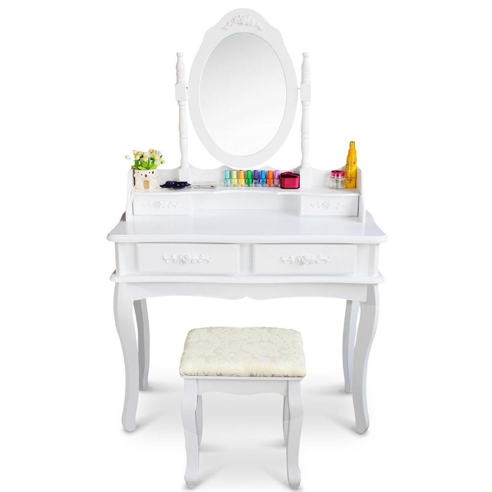 White vanity makeup dressing table set w stool drawer