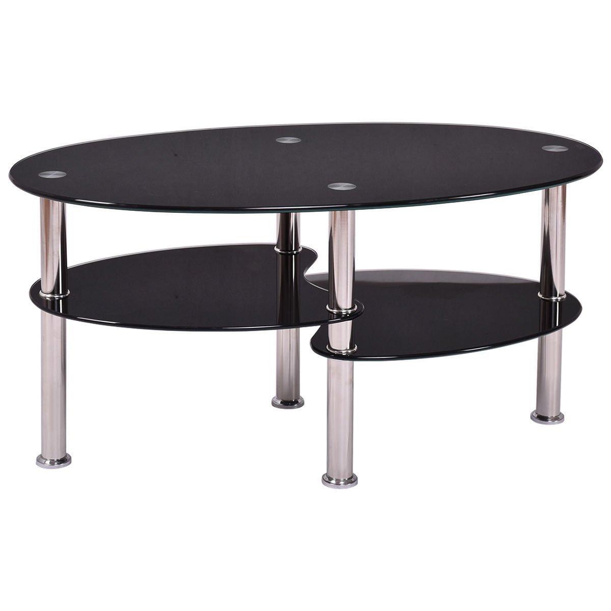 New Black Glass Oval Side Coffee Table Shelf Chrome Base Living Room Furniture 654554640696 Ebay
