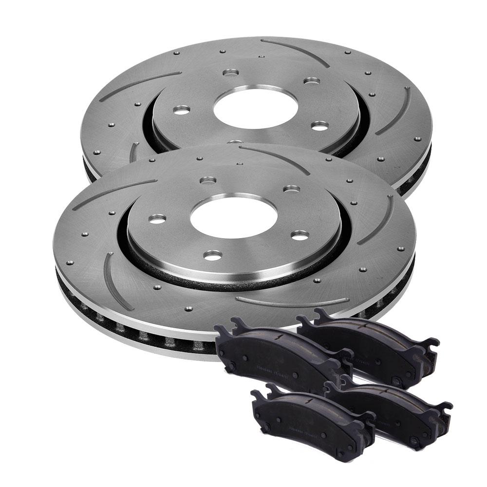 2Pcs Front L R Brake Rotors 4Pcs Ceramic Pads For TOYOTA Camry 97 98 99 00 01